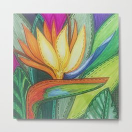 Bird of Paradise Quilt Square Note Metal Print