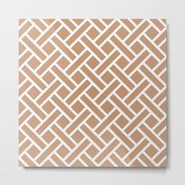 Geometric Trellis Weave Pattern 131 Tan Metal Print