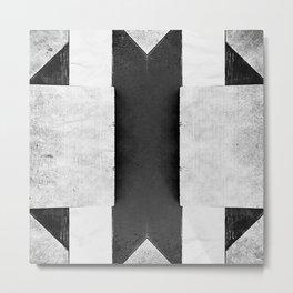 Geometric Merz - Black White Retro Dadaism Metal Print