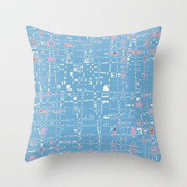 Skyler abstract blue and pink Throw Pillow