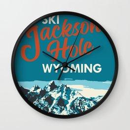 Ski Jackson Hole Wyoming Vintage Ski Poster Wall Clock