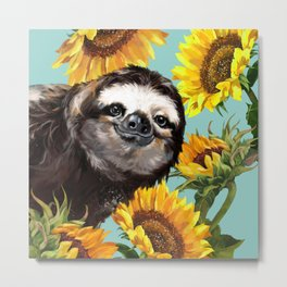 Sloth with Sunflowers Metal Print