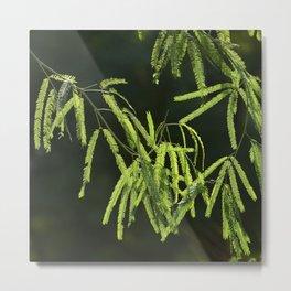 Asian-Inspired Minimalism: Green Leaves On Black Metal Print