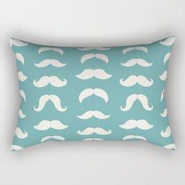 Hipster Moustache Pattern - Teal Blue Rectangular Pillow