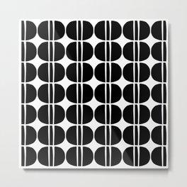 Mid Century Modern Geometric Pattern 131 Black and White Metal Print