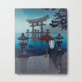 No face Kaonashi vintage japanese mashup Metal Print