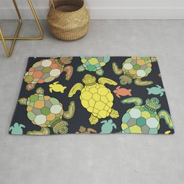 Colorful happy turtles. Rug