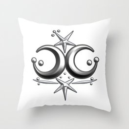 Iceni Silver Moons and Stars. Throw Pillow