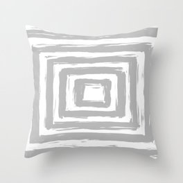 Minimal Light Gray Brush Stroke Square Rectangle Pattern Throw Pillow