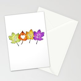 Love Autumn Leaf Stationery Cards