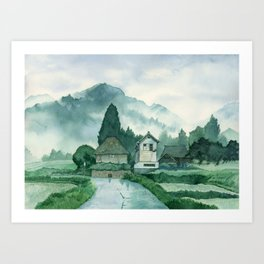 Japanese Village , After Rain ,  Art Watercolor Painting print by Suisai Genki  Art Print