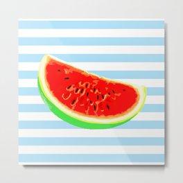 Watermelon, Summer Poster, Summer T-Shirt, Summer colors, blue Metal Print