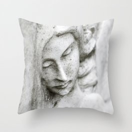Angel face on stone memorial eyes closed Throw Pillow