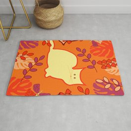 Curious cat, butterflies and leaves Rug