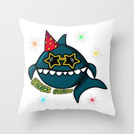 Shark Party, Shark svg, Shark png, Shark vector, Shark black, Shark eps, Baby Shark, Shark bubble Throw Pillow