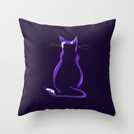 Sitting Cat from behind in Purple Throw Pillow