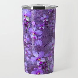 purple orchids on a textured wall Travel Mug