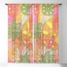Tropical Coloured 60's Hippies Flowers Pattern Sheer Curtain