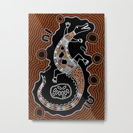 Aboriginal Crocodile Authentic Aboriginal Art Metal Print