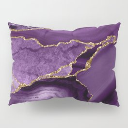 Glamour Purple Bohemian Watercolor Marble With Glitter Veins Pillow Sham