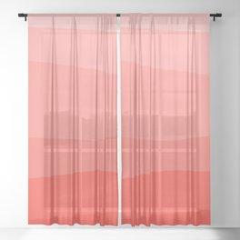 Diagonal Living Coral Gradient Sheer Curtain