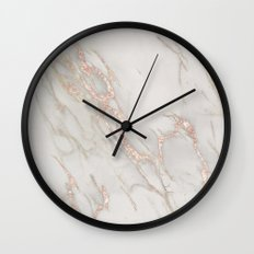 Marble Rose Gold Blush Pink Metallic by Nature Magick Wall Clock
