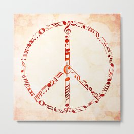 Watercolor music peace Metal Print