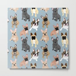 Frenchies on Blue Metal Print