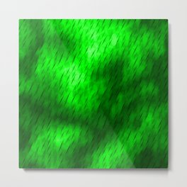 Line texture of green oblique dashes with a bright intersection on a luminous charcoal. Metal Print
