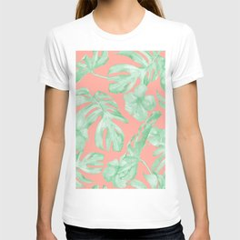 Tropical Palm Leaves Hibiscus Flowers Coral Green T-shirt