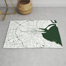 White on Dark Green Dublin Street Map Rug