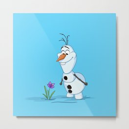 Olaf And The Flower Metal Print