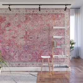 N45 - Pink Vintage Traditional Moroccan Boho & Farmhouse Style Artwork. Wall Mural