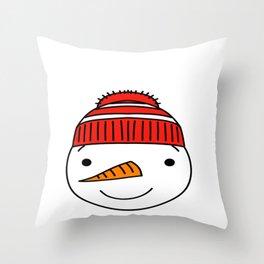 Winter Snowmans Heart Building Snowment Throw Pillow