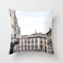 Major Square of Segovia Drawing in Spain Throw Pillow