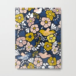 Blue wellness garden - florals matching to design for a happy life Metal Print
