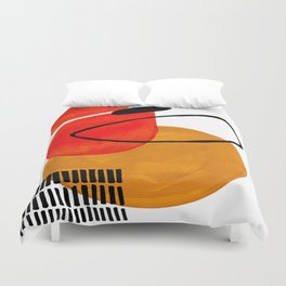 Mid Century Modern Abstract Vintage Pop Art Space Age Pattern Orange Yellow Black Orbit Accent Duvet Cover