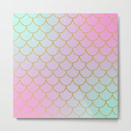 Pastel Mermaid Pattern   Glitter   Sparkle Metal Print