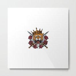Angry Tiger Head Crown Metal Print