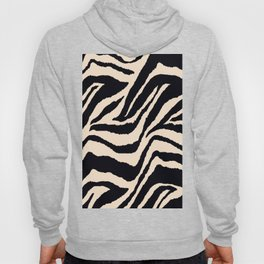 Zebra Animal Print Black and off White Pattern Hoodie