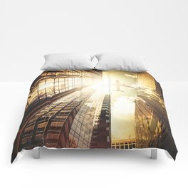 airplane in new york city Comforters