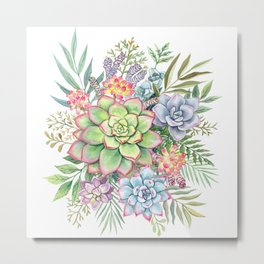 Watercolor Succulents #51 Metal Print