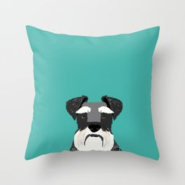 Schnauzer dog head cute gifts for schnauzers lovers dog breed art Throw Pillow