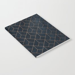 Gold Art deco on Navy ink Notebook