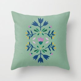 green mint boho Scandinavian flowers Throw Pillow