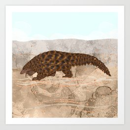 Pangolin in the Desert  Art Print