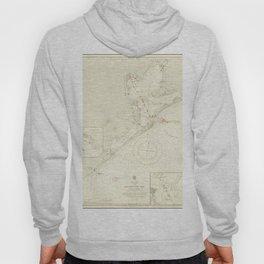 Vintage Map Print - Admiralty Chart No 2831 Galveston Bay and Parts Adjacent, 1914 Hoody