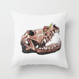 Coyote Skull Plus Snail Trail Throw Pillow