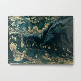 Abstract Pour Painting Liquid Marble Abstract Dark Green Painting Gold Accent Agate Stone Layers Metal Print