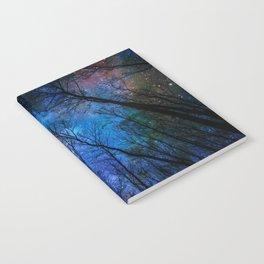 Black Trees Dark Blue Space Notebook